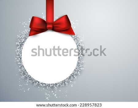 Light winter abstract background. Christmas paper ball background with red bow. Vector.  - stock vector