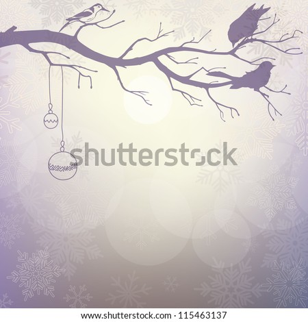Light winter background with silhouette of branch with birds - stock vector