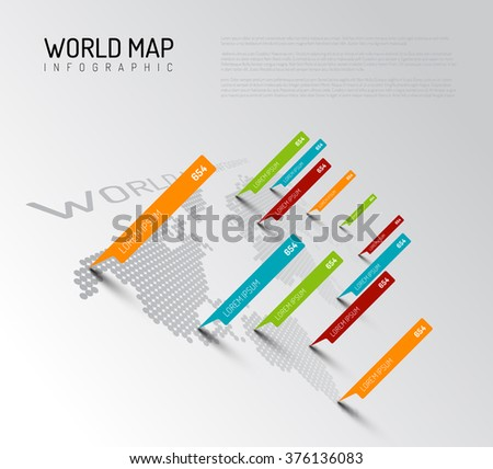 Light World map infographic template with pointer marks (diagonal version) - stock vector