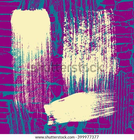 Light yellow brush strokes on the background of cracked paint. Design elements and decorations. Grunge texture - stock vector