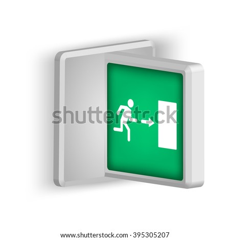 Lightbox T-style with emergency exit sign indicating the direction of exit in case of danger. Isolated on white background. - stock vector