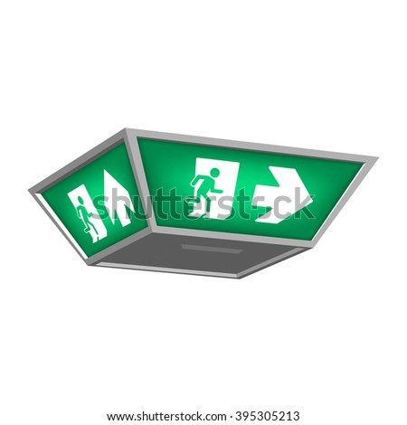 Lightbox with emergency exit signs indicating the direction of exit in case of danger. Isolated on white background. - stock vector