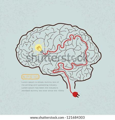 Lightbulb Brain Idea for Ideas or Inspiration , eps10 vector format - stock vector