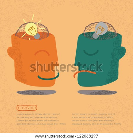 Lightbulb Brain Idea for Ideas or Inspiration , eps10 vector format - stock vector