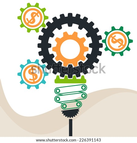 Lightbulb constructed of gears flat design style. Busines idea in gear symbols - stock vector