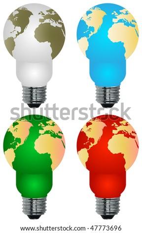 Lightbulb earth - stock vector