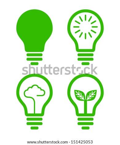 lightbulb  icon - green concept - stock vector