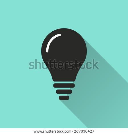 Lightbulb icon, vector illustration, flat design. - stock vector