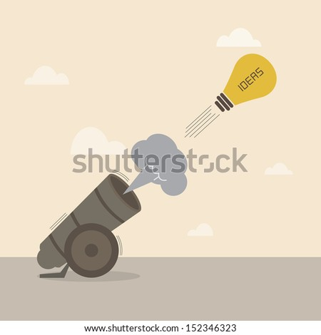 Lightbulb idea is launched from big cannon - stock vector