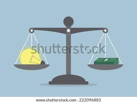 Lightbulb ideas and money balance on the scale, VECTOR, EPS10 - stock vector