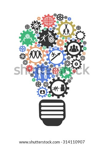 Lightbulb teamwork Concept - stock vector
