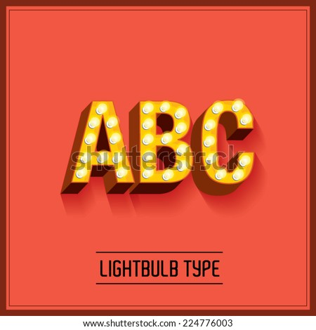 lightbulb typeface/font vector/illustration a,b,c - stock vector