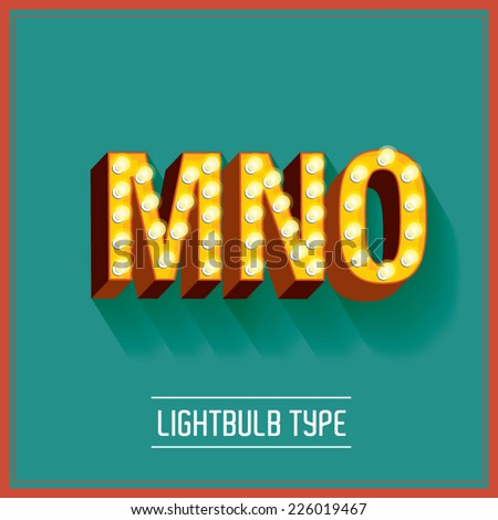 lightbulb typeface vector/illustration m,n,o - stock vector