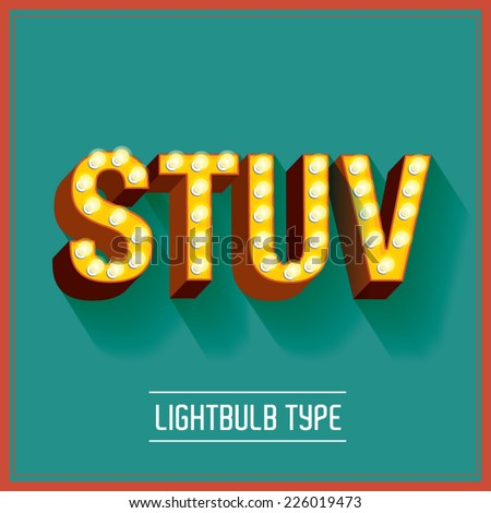 lightbulb typeface vector/illustration s,t,u,v - stock vector