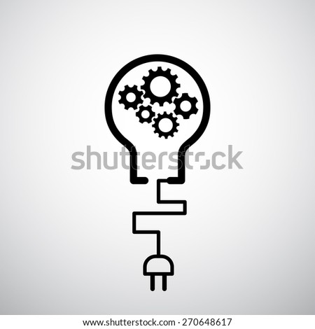 lightbulb with plug icon gears industrial concept - techno background - stock vector