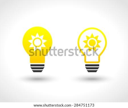 Lightbulb with shiny sun as solar energy concept - stock vector