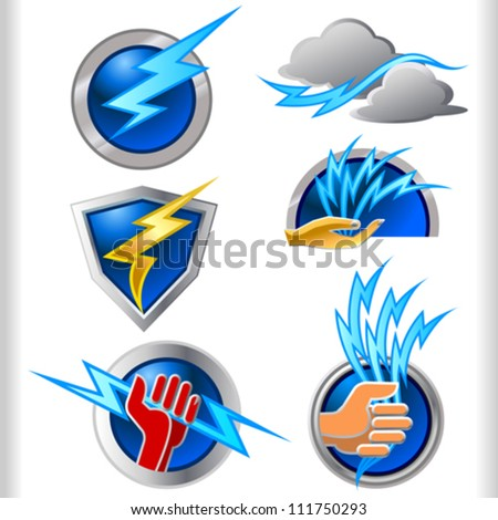 Lightening Energy Symbols and Icons Set - stock vector