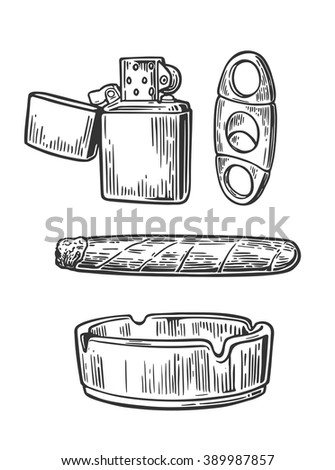 Lighter, cigar, ashtray,  guillotines for cigars. Set of vintage smoking tobacco elements. Vector vintage engraved black illustration isolated on white background. - stock vector
