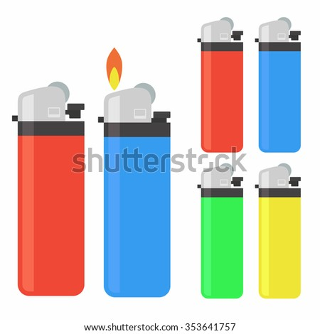 Lighter icon set - stock vector