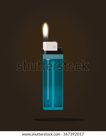 Lighter icon vector illustration, lighter with fire flame, hand lighter flaming, blue pocket burning lighter, flat realistic modern design isolated on black dark background - stock vector