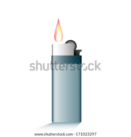 Lighter with fire. Vector - stock vector
