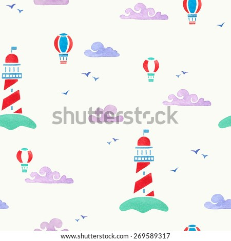 lighthouse and aerostats. watercolor seamless pattern - stock vector