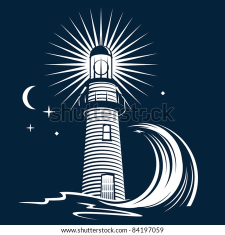 Lighthouse and Wave - stock vector