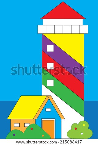 lighthouse as toy illustration  - stock vector