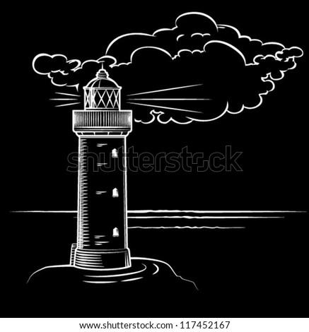 lighthouse at night with a big cloud, drawn - stock vector