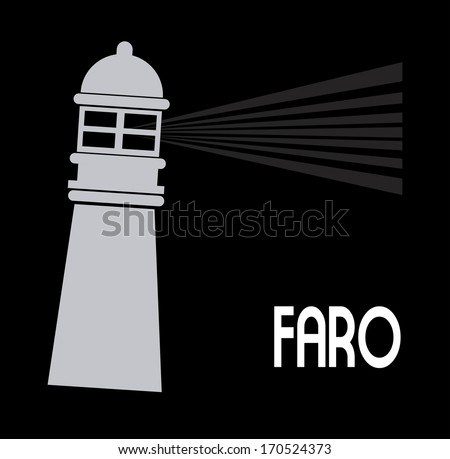 lighthouse design over black background vector illustration - stock vector