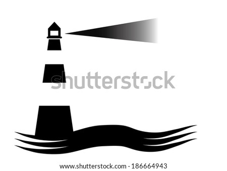 Lighthouse Icon in Black and White. Vector - stock vector