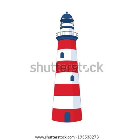 Lighthouse icon red and blue colored - stock vector