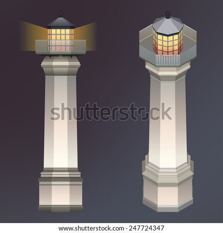 Lighthouse illustration with light. - stock vector