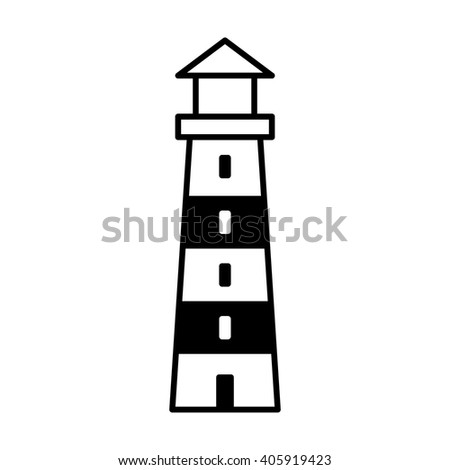Lighthouse / light house beacon line art icon for apps and websites - stock vector