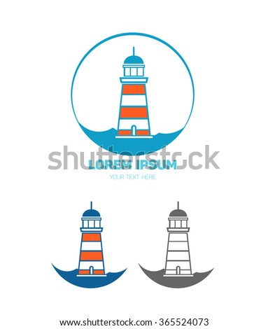 Lighthouse logo template for your design - stock vector