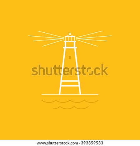 Lighthouse on Yellow Background , Beacon and Mountains  , Line Style Design,  Logo Design Element,Emblem for Travel Industry, Marine Emblem, Vector Illustration - stock vector