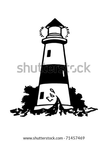 Lighthouse 2 - Retro Ad Art Illustration - stock vector