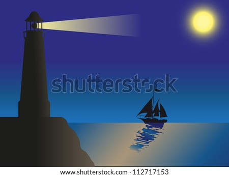 lighthouse silhouette against the sky and the sea vector illustration - stock vector