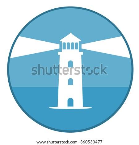 Lighthouse vector illustration, flat design. - stock vector