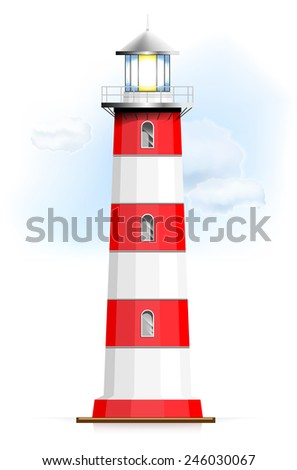 Lighthouse with sky and clouds - isolated on white background. Vector illustration. - stock vector