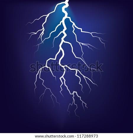 Lighting flash on the dark sky - illustration - stock vector