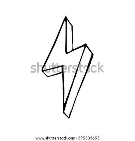 Lightning bolt hand drawn, vector doodle illustration for design - stock vector