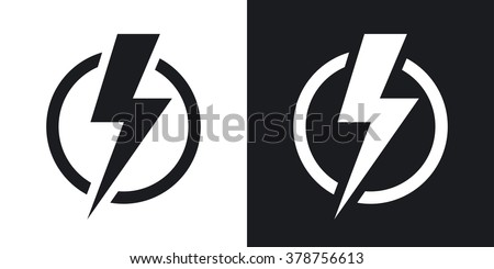 Lightning bolt icon, vector. Two-tone version on black and white background - stock vector