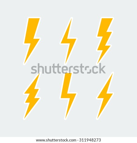 lightning bolt icons set, thunderbolt sign or flash symbol. isolated on grey background. vector illustration - stock vector