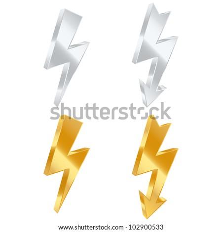 Lightning bolt icons. Vector illustration - stock vector