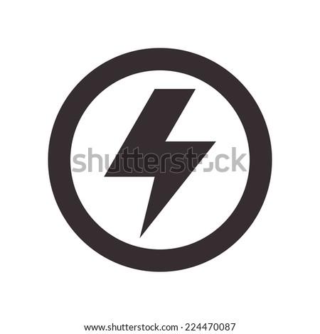 Lightning bolt sign isolated on white background - stock vector