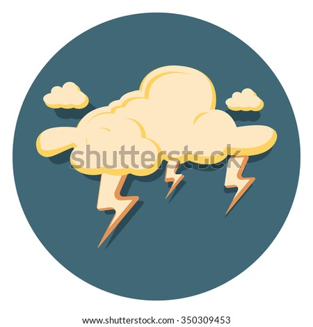 lightning flat icon in circle - stock vector