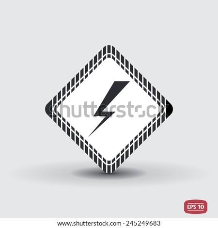 Lightning flat icon. Vector illustration - stock vector