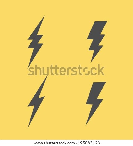 Lightning flat icons set - stock vector