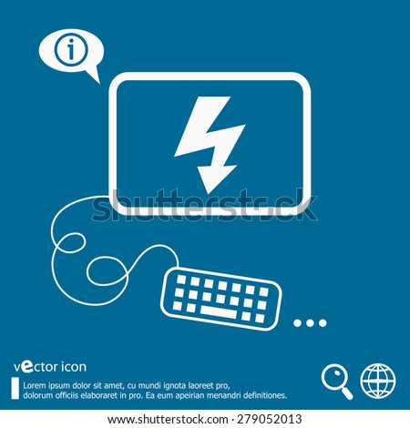 Lightning icon and flat design elements. Line icons for application development, web page coding and programming, creative process, social media, print. - stock vector